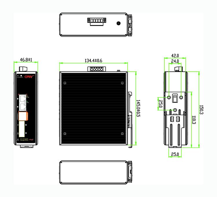 industrial switch , industrial fiber switch, 4-port industrial PoE switch