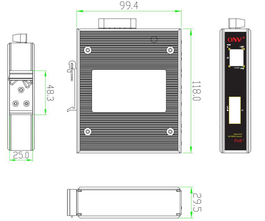 industrial PoE switch , industrial fiber switch, 2-port industrial Fiber switch