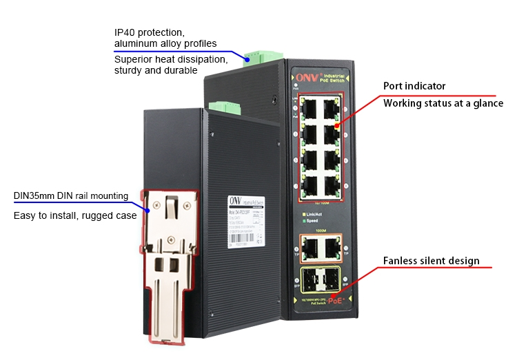 10-port Gigabit uplink industrial PoE fiber switch,industrial PoE switch