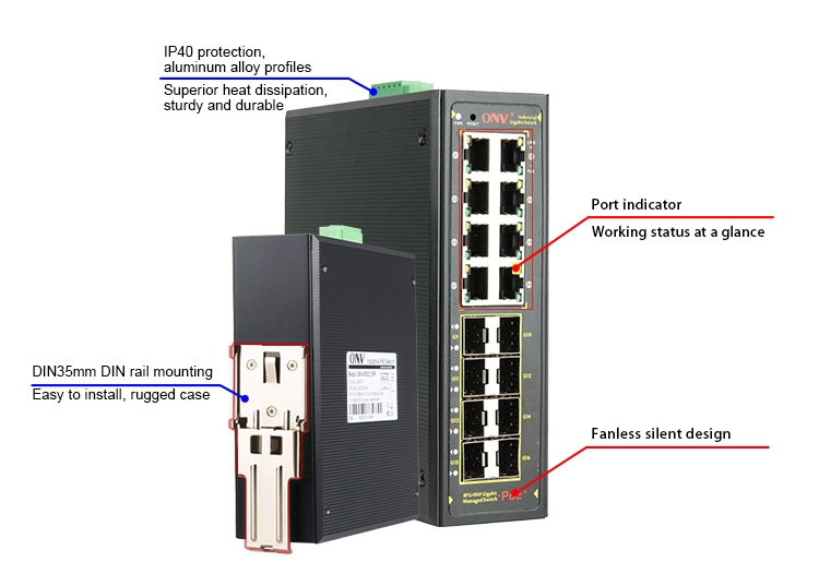 16-port gigabit managed industrial PoE switch, industrial PoE switch