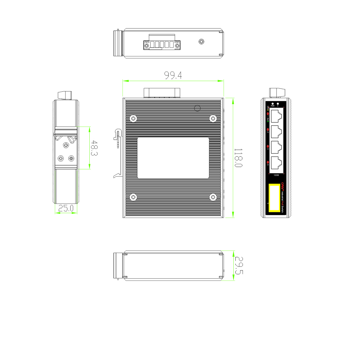 5-port 10/100M bt industrial PoE fiber switch,bt industrial PoE switch
