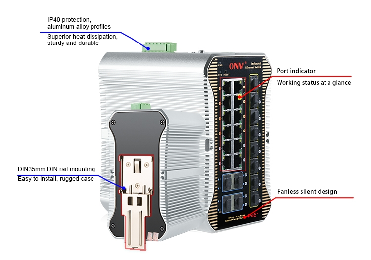industrial PoE switches, industrial switch,24-port managed industrial PoE switch
